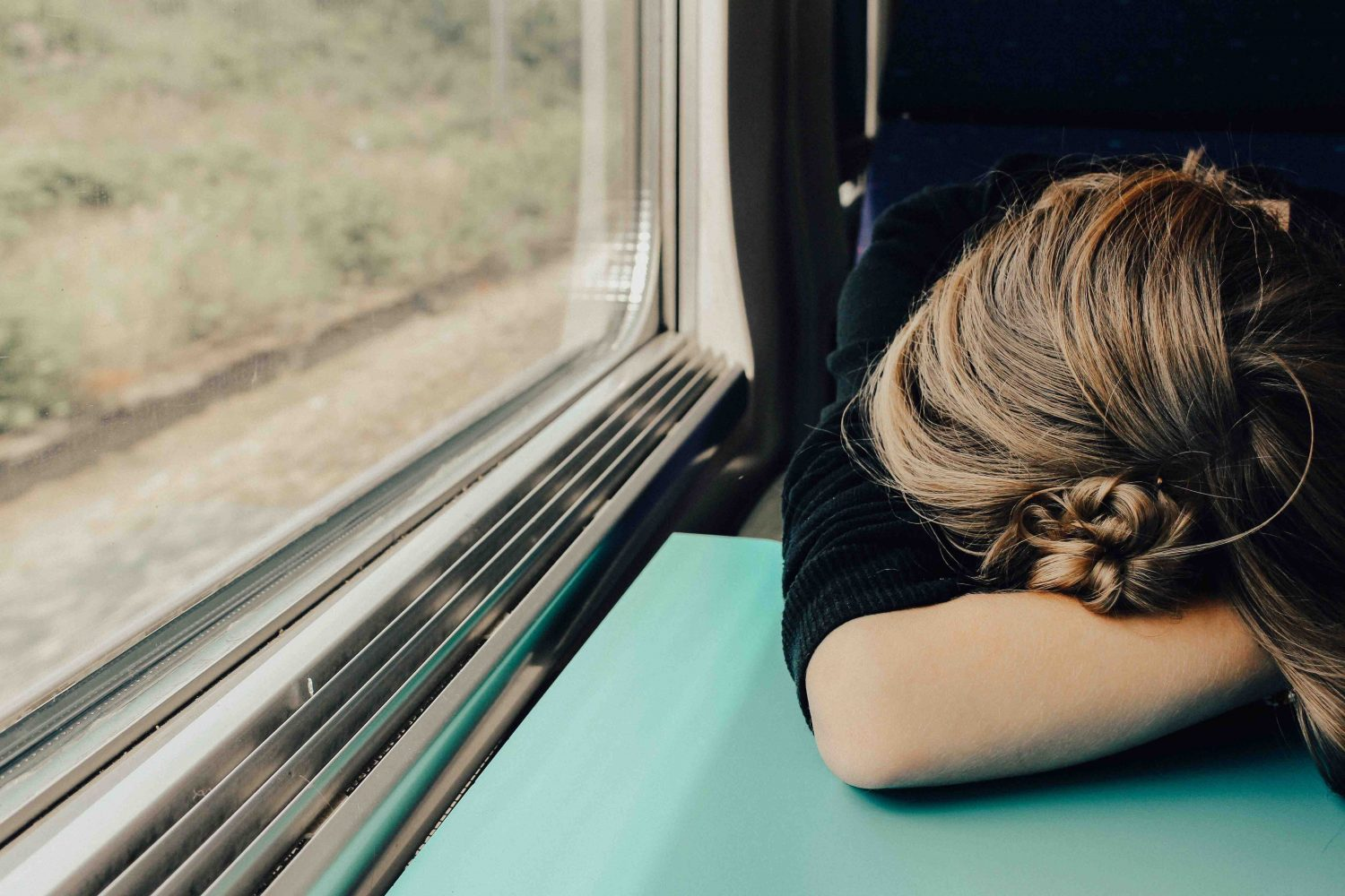 tired person on train